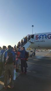 Tillsammans med alla britterna på väg ner till Ouarzazate